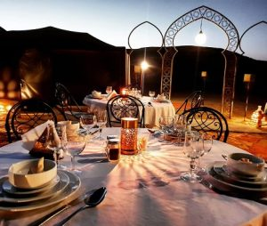 Magical dinner in luxury camp